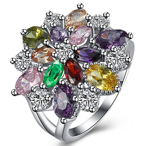 18k Gold Multi Color Gemstone - Women's Lexurious 18K White Gold Plated Multi-Color Flower CZ Stones Eternity Promise Rings Cocktail Size 7
