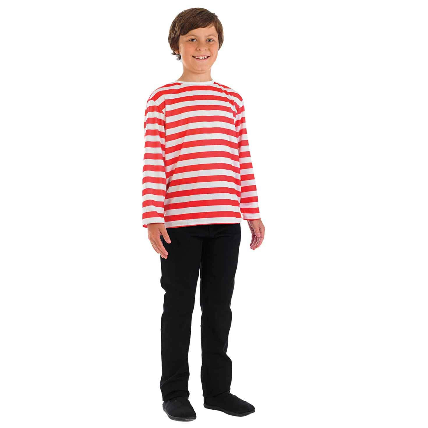 Fun Shack Rojo Jersey A Rayas Disfraz para Niños y Niñas - L ...