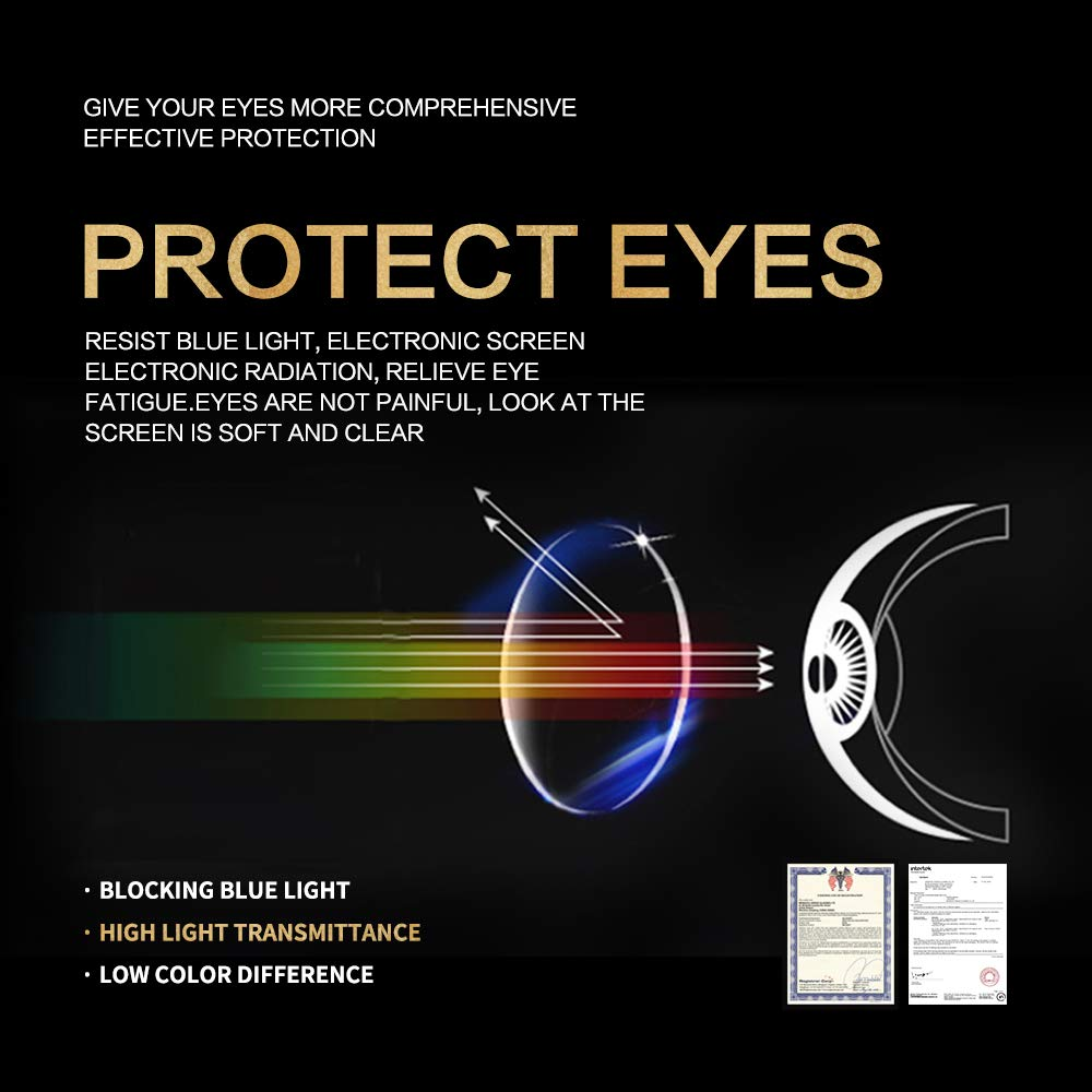 K KENZHOU Blue Light Blocking Computer Glasses 2 Pack Anti Eye Eyestrain Unisex(Men/Women) Glasses with Spring Hinges UV Protection Twilight and Blue by K KENZHOU (Image #5)