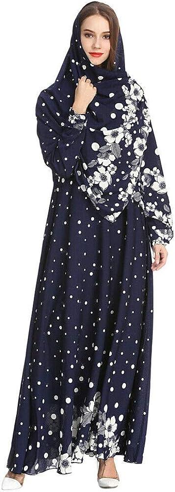 Vestito con Stampa Floreale Abaya Dubai Arabo Islamico Kaftan Meijunter Musulmano Abito da Donna con Hijab
