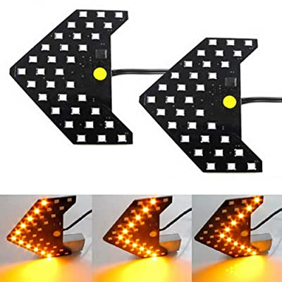 iJDMTOY Pair Dynamic Sequential 3-Step Flash 33-SMD LED Circuit Board Panels For Behind The Side Mirror Turn Signal Retrofit, Amber Yellow: Automotive