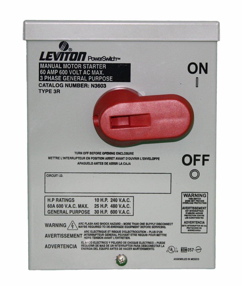 Leviton N3603 60 Amp, 600 Volt, Toggle In Type 3R Enclosure, Three ...
