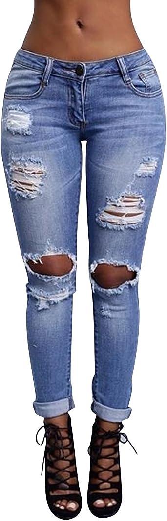 Isshe Pantalones Vaqueros Cintura Alta Mujer Jeans Rotos Talle Alto Mujer Vaqueros Skinny Slim Pantalon Vaquero Denim Tiro Alto Mujer Jeggings Elasticos Treggings Ajustados Mode Casual Amazon Es Ropa Y Accesorios