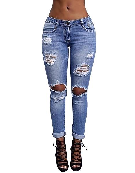 e1c89f4814 ISSHE Pantalones Vaqueros Cintura Alta Mujer Jeans Rotos Talle Alto Mujer Vaqueros  Skinny Slim Pantalon Vaquero Denim Tiro Alto Mujer Jeggings Elasticos ...