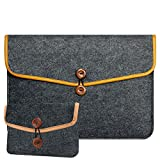 "RAINYEAR 13.3"" Felt Laptop Sleeve Briefcase Cover With Small Case for Charger and Mouse, for 13-13.3 Inch Macbook Air Pro Notebook Ultrabook Tablet Lenovo HP Acer Asus Dell Thinkpad(Darkgray)"