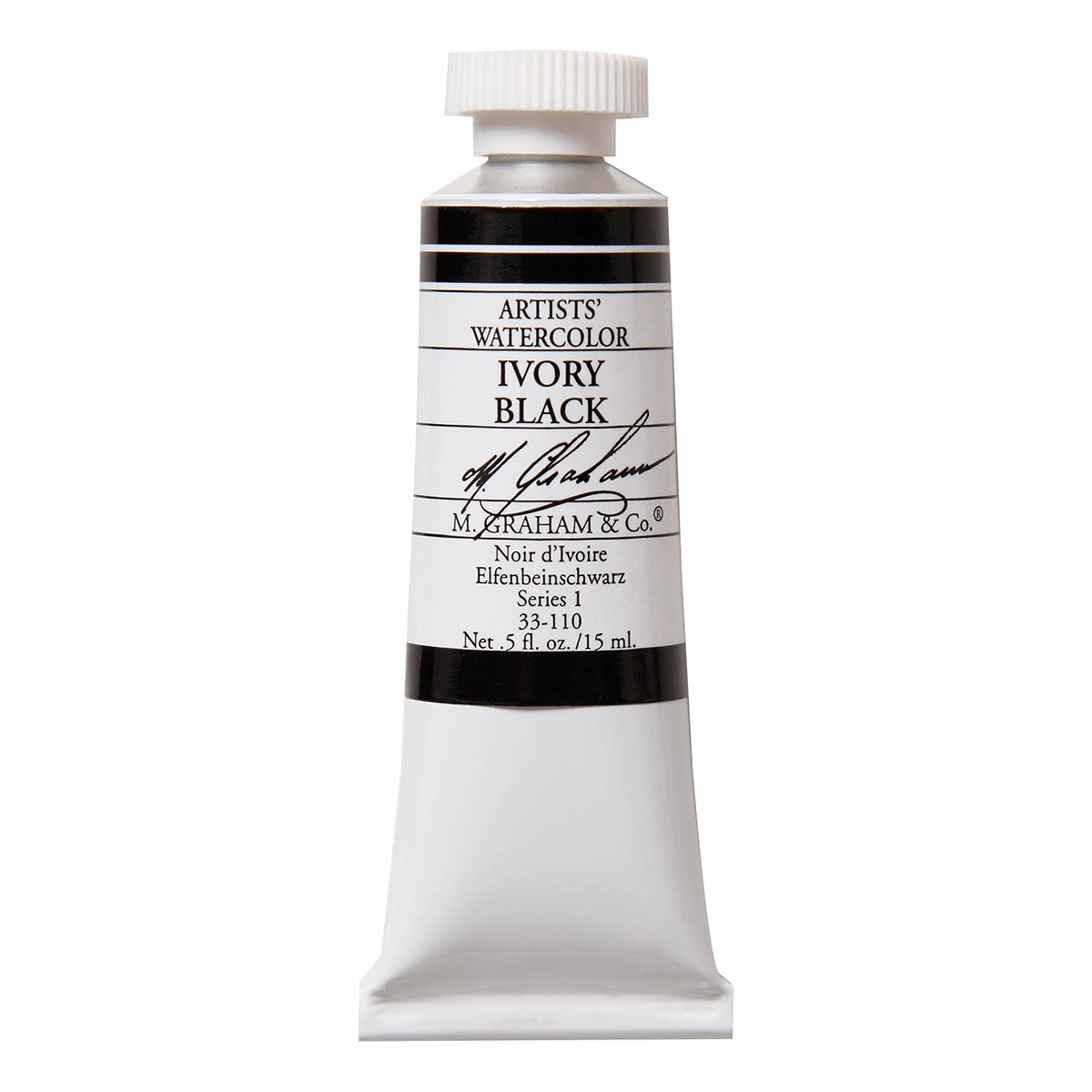 M. Graham 1/2-Ounce Tube Watercolor Paint, Ivory Black
