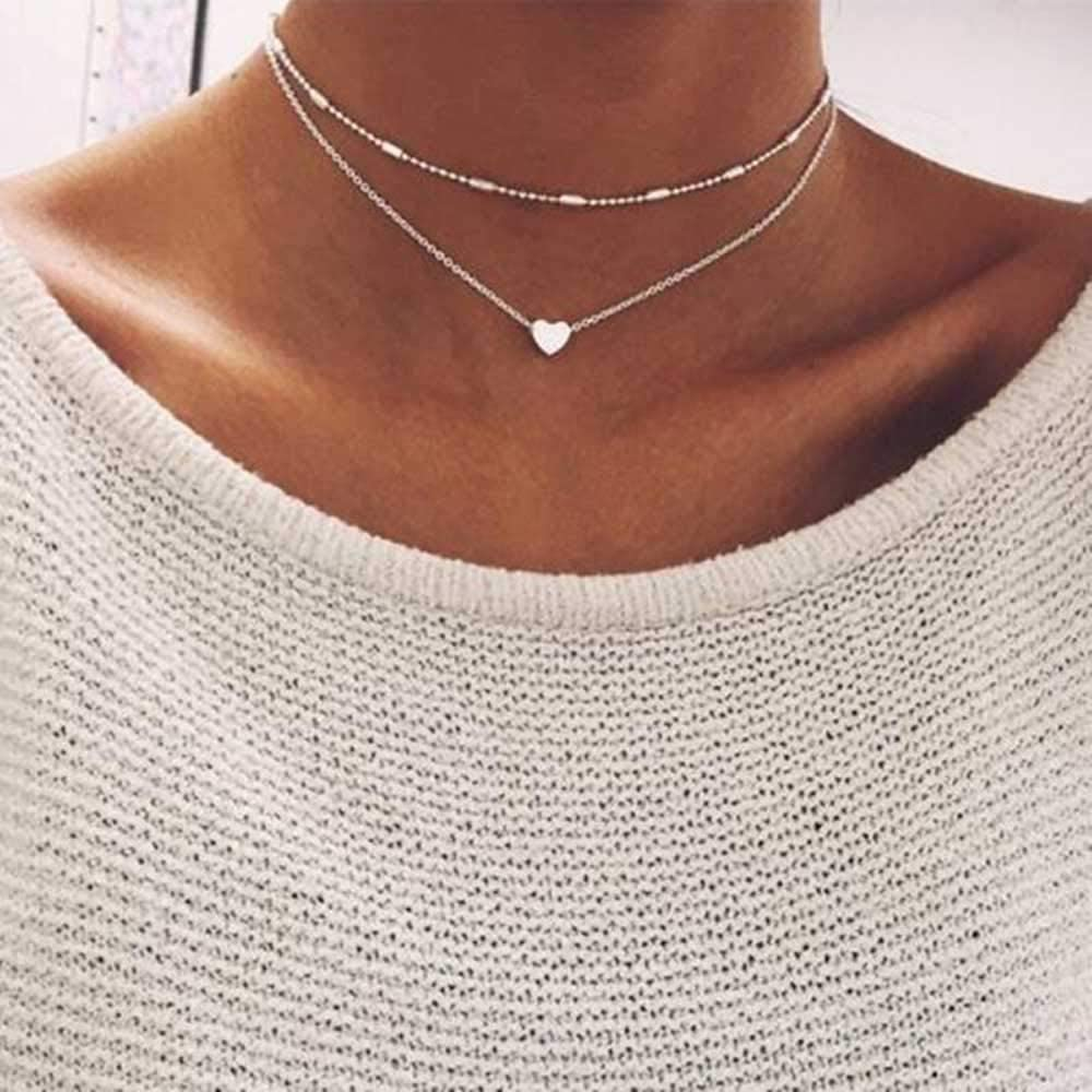 Jovono Collar con colgante de corazón en capas, cadena de cuentas de plata para mujeres y niñas