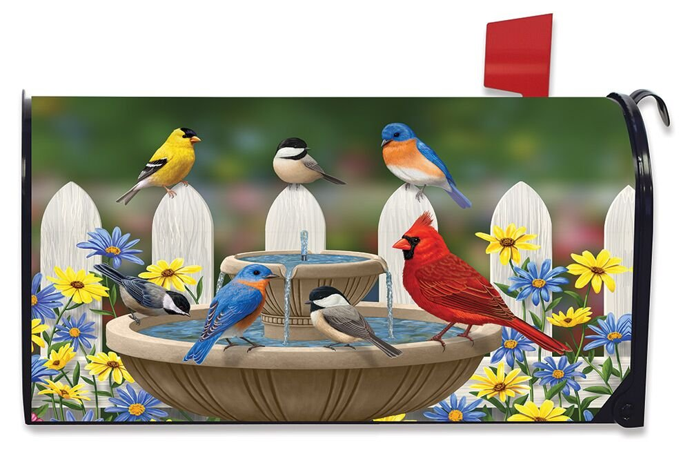 Briarwood Lane Birdbath Gathering Spring Large Magnetic Mailbox Cover Floral Birds Oversized