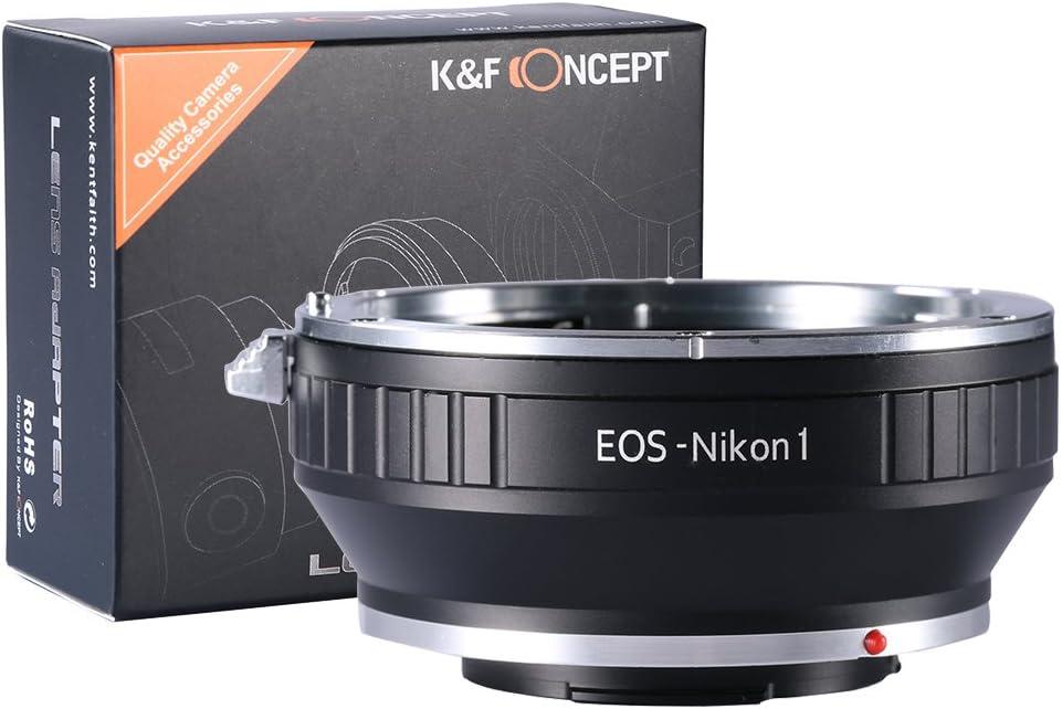 EOS-NIKON1 Adaptador - K&F Concept Anillo de Adaptador para Montar la Lente de Canon EOS a Nikon 1-Serie Cámara, Adecuado para Nikon V1, J1 Mirrorless Cámaras, Compatible con EOS EF, y EF-S Lentes