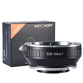 K&F Concept Lens Mount Adapter, Canon EOS EF mount Lens to Nikon 1-Series  Camera, fits Nikon V1, J1 Mirrorless Cameras, fits EOS EF, and EF-S lenses