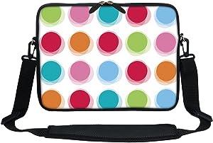 Meffort Inc 11.6 Inch Neoprene Laptop Sleeve Bag Carrying Case with Hidden Handle and Adjustable Shoulder Strap (Rainbow Dot)
