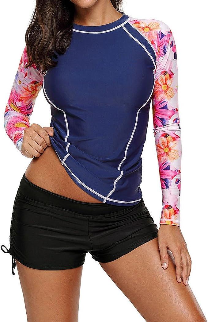 LuckyBB Women Rash Guard Sun Protection UV Surf Tops Short Sleeve Swim Shirt Top