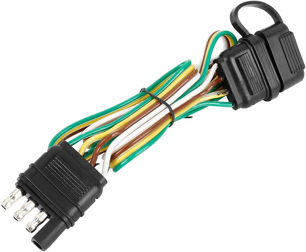X AUTOHAUX Trailer 4 Wire Plug 32 Inch 4 Pin Flat Wire Extension Male /& Female Connector