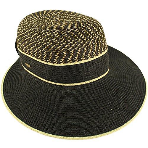 C.C Backless Brim Floppy Visor 3-3/4 Brim Ribbon Bow Beach Pool Sun Hat Black ()