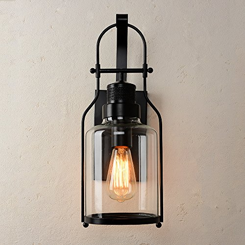 CEENWE Watson Retro Industrial Loft Lantern 1-Light Vintage Wall Sconce (Black) (Wall Outdoor Candles For Sconces)