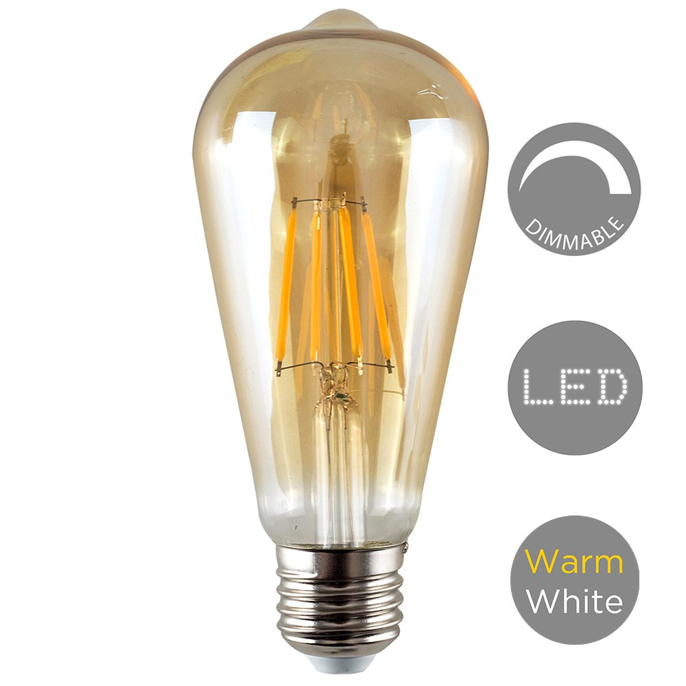 Energy Class A+ / 2700K Warm White Vintage Style 4w LED Dimmable ES E27 Unique Designer Style Amber Tinted Squirrel Cage Steampunk Light Bulb
