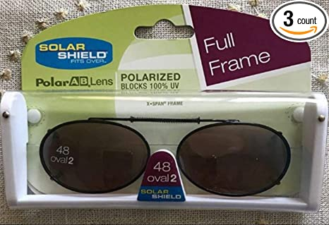 80aaf3c2243 Image Unavailable. Image not available for. Color  3 SOLAR SHIELD Clip-on Polarized  Sunglasses Size 48 Oval 2 Brown Full Frame NEW