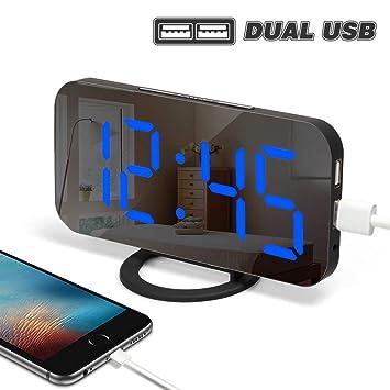 Yabife USB Stromversorgung Wecker Digital Mit Spiegel Oberfläche,  Digitaluhr/Tischuhr / Digitalwecker/Laut
