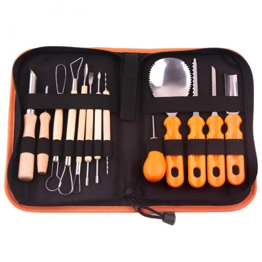 Pumpkin Carving Tools Kit –13 Pieces Heavy Duty Stainless Steel Pumpkin Carving Tool Jack-O-Lantern Sculpting Set with Storage Tool Bag – Halloween Party Supplies