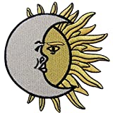 Crescent Moon Over Sun Embroidered Celestial Badge Iron On Sew On Patch