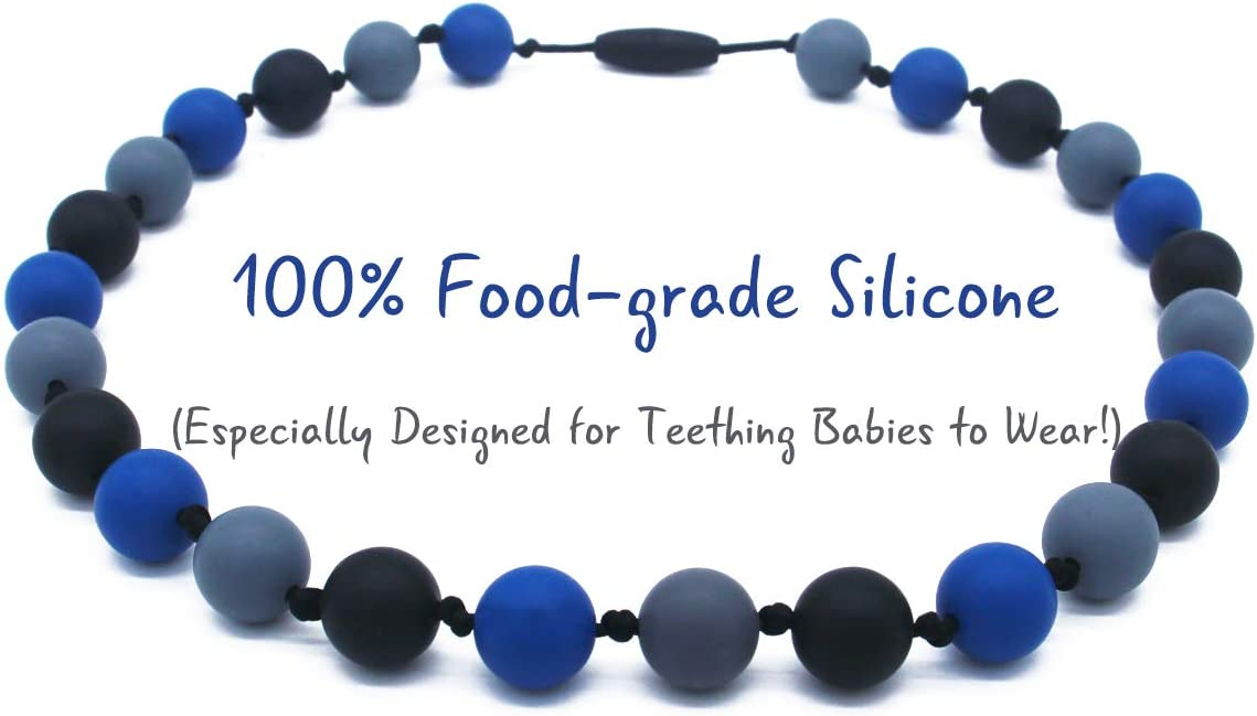 Freezer Safe QUALEAP Teething Necklace for Baby to Wear Dishwasher Safe BPA Free Ages 0+ Months 100/% Food-Grade Silicone