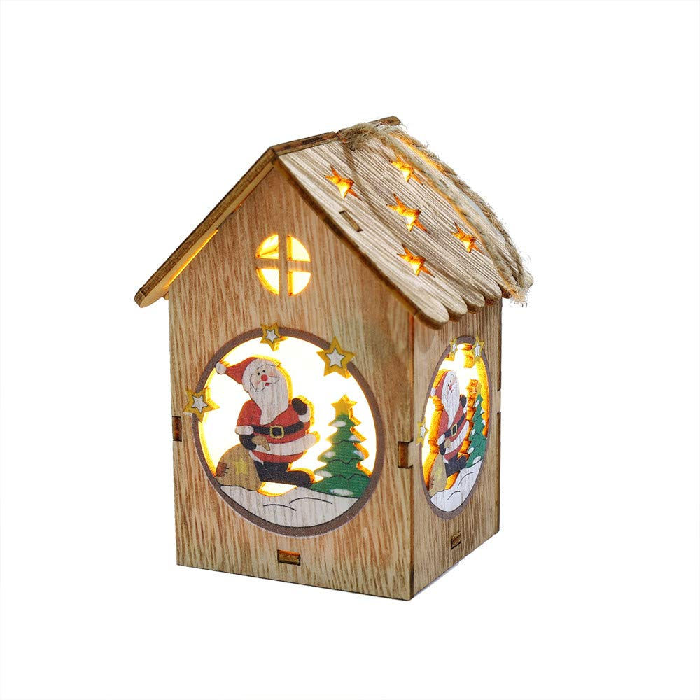 LED Light Wooden Dolls House Villa Christmas Ornaments Xmas Tree Hanging Decor (A)