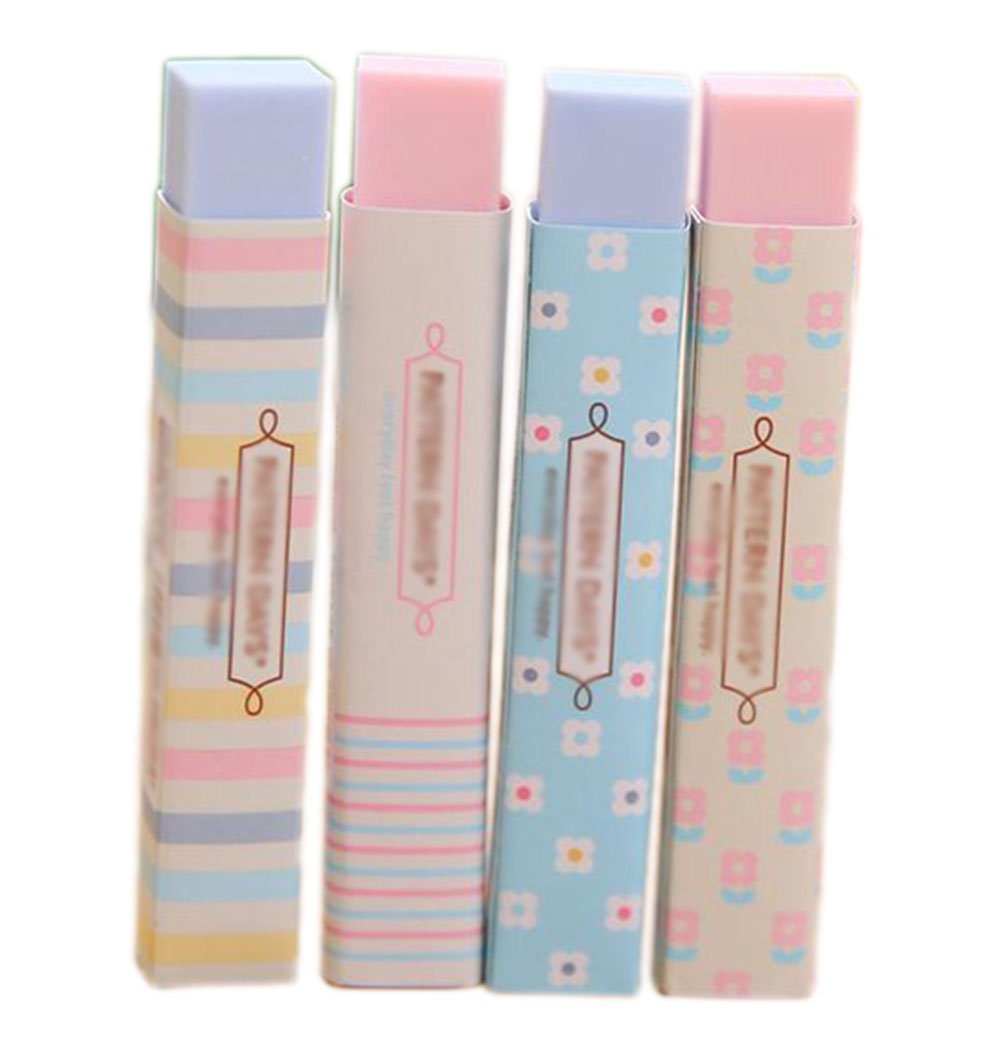 Weimay Assorted Colors Block Eraser Cute Kawaii Colored Long Strip Rubber Eraser Pink Blue For School Office Kids Girls (Pack of 4)