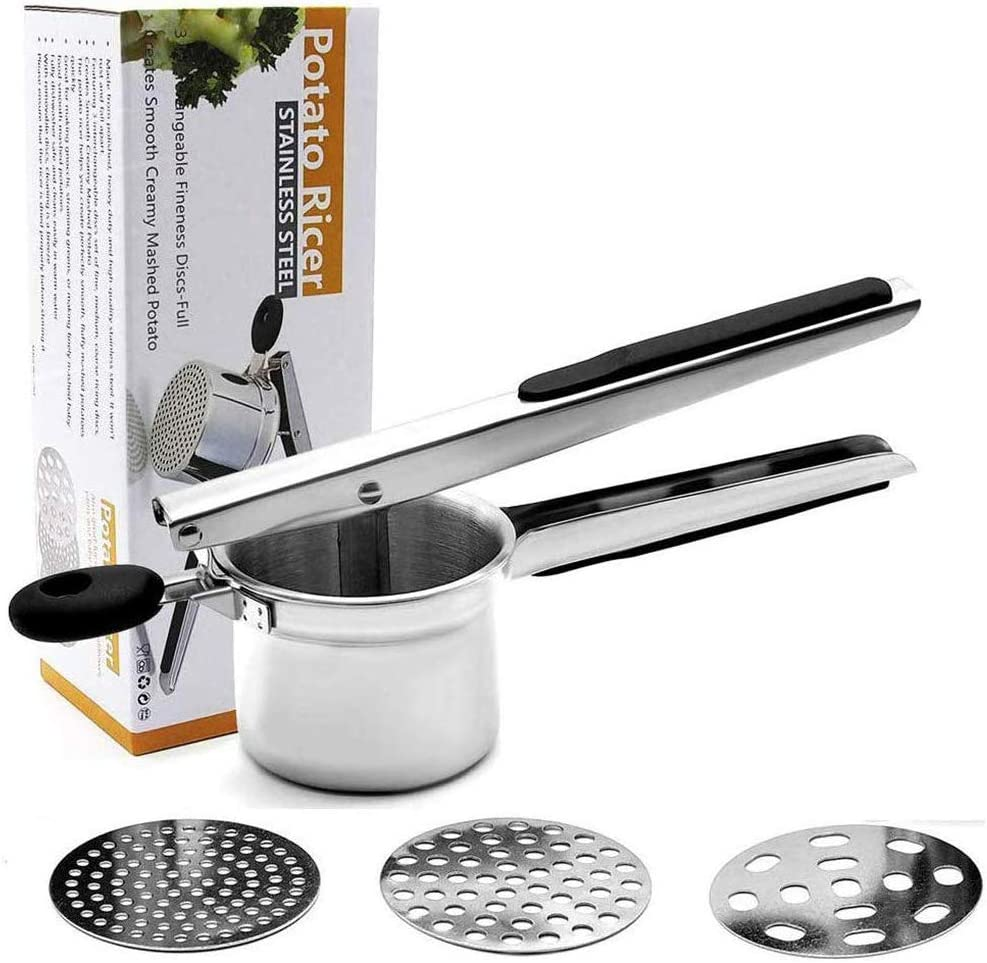 Potato Ricer,OneCut Stainless Steel Potato Masher Set with 3 Ricing Discs (Fine, Medium, Coarse),for Baby Food Strainer, Fruit Masher, and Food Press