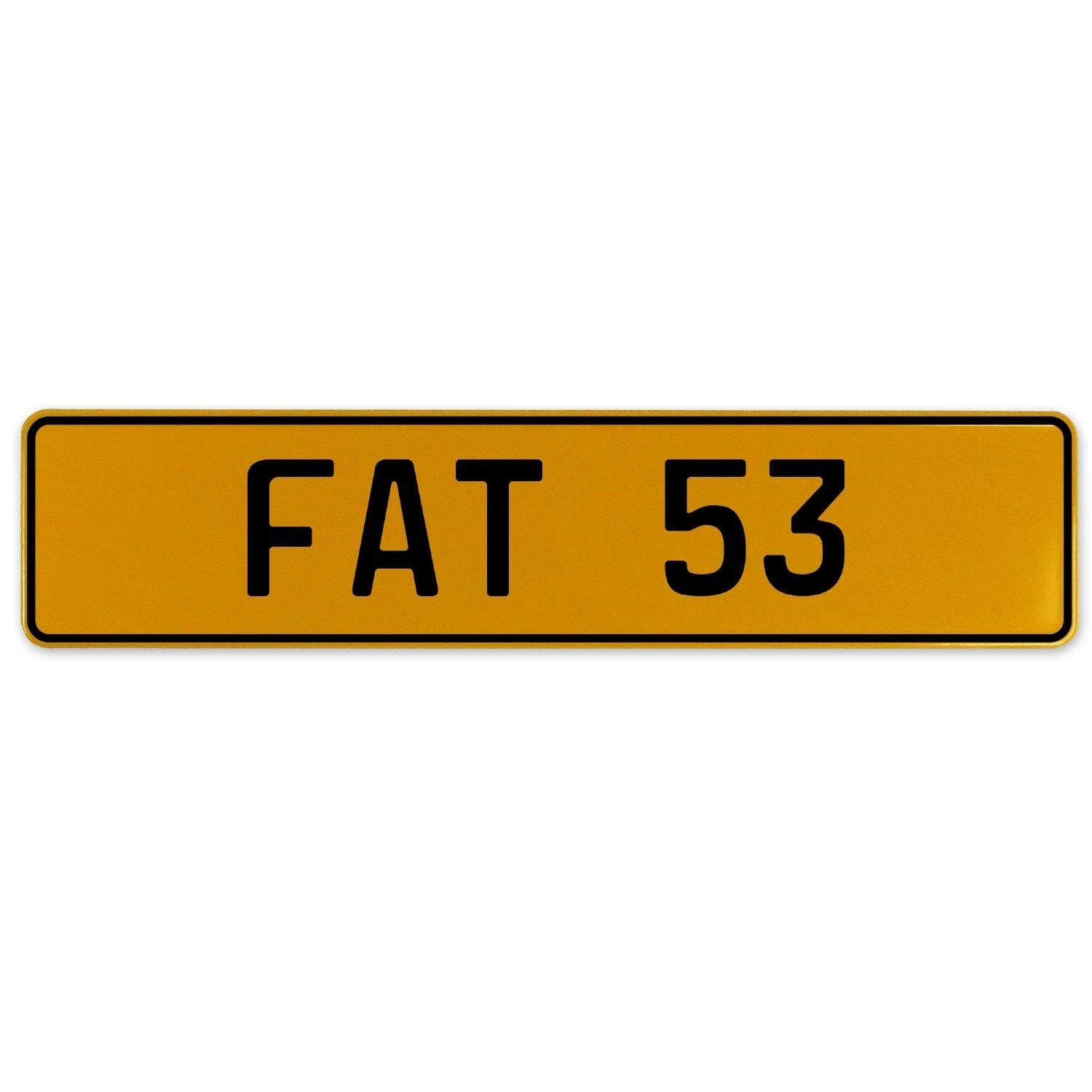 Fat 53 Vintage Parts 559600 Yellow Stamped Aluminum European Plate