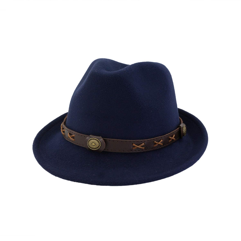 ANDERDM European US Woolen Felt Hat Cowboy Jazz Cap Fedoras Panama Cap Chapeau with Leather Band for Men Women