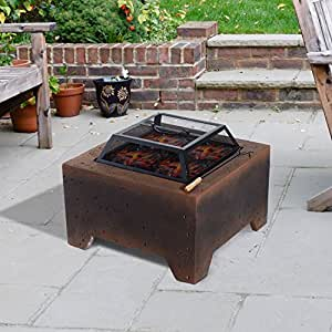 New MTN-G Fiberglass Fire Pits Bowl Heater Burning Patio Heater Concrete Square W/ Cover