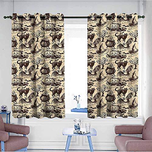 VIVIDX Waterproof Window Curtains,Vintage Halloween,Black Cat Motif,Space