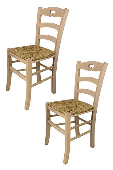 Tommy chairs - Set 2 sedie Savoie per Cucina Bar e Sala da Pranzo,  Struttura in Legno di faggio Levigato, Non trattato, 100% Naturale e Seduta  in ...