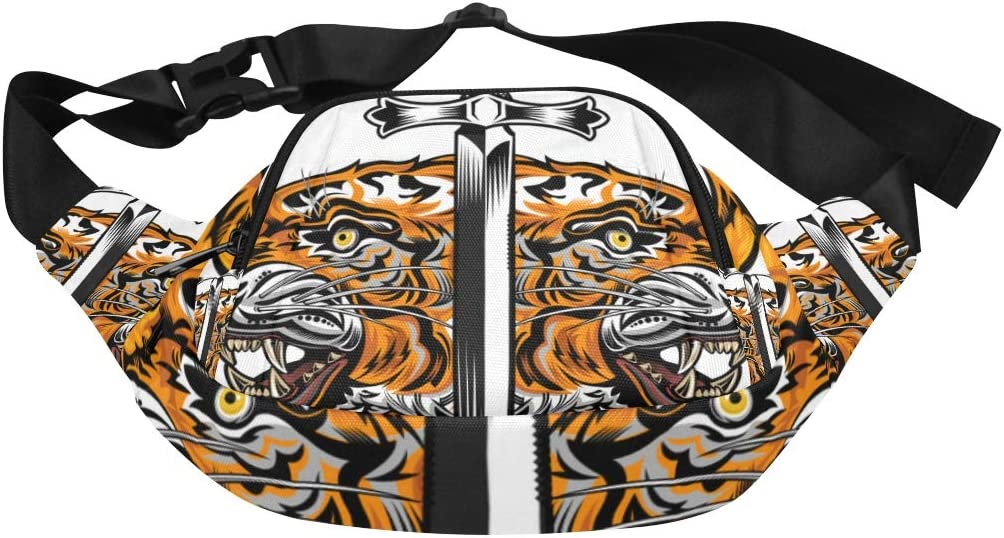 A Huge Saber-toothed Tiger Fenny Packs Waist Bags Adjustable Belt Waterproof Nylon Travel Running Sport Vacation Party For Men Women Boys Girls Kids