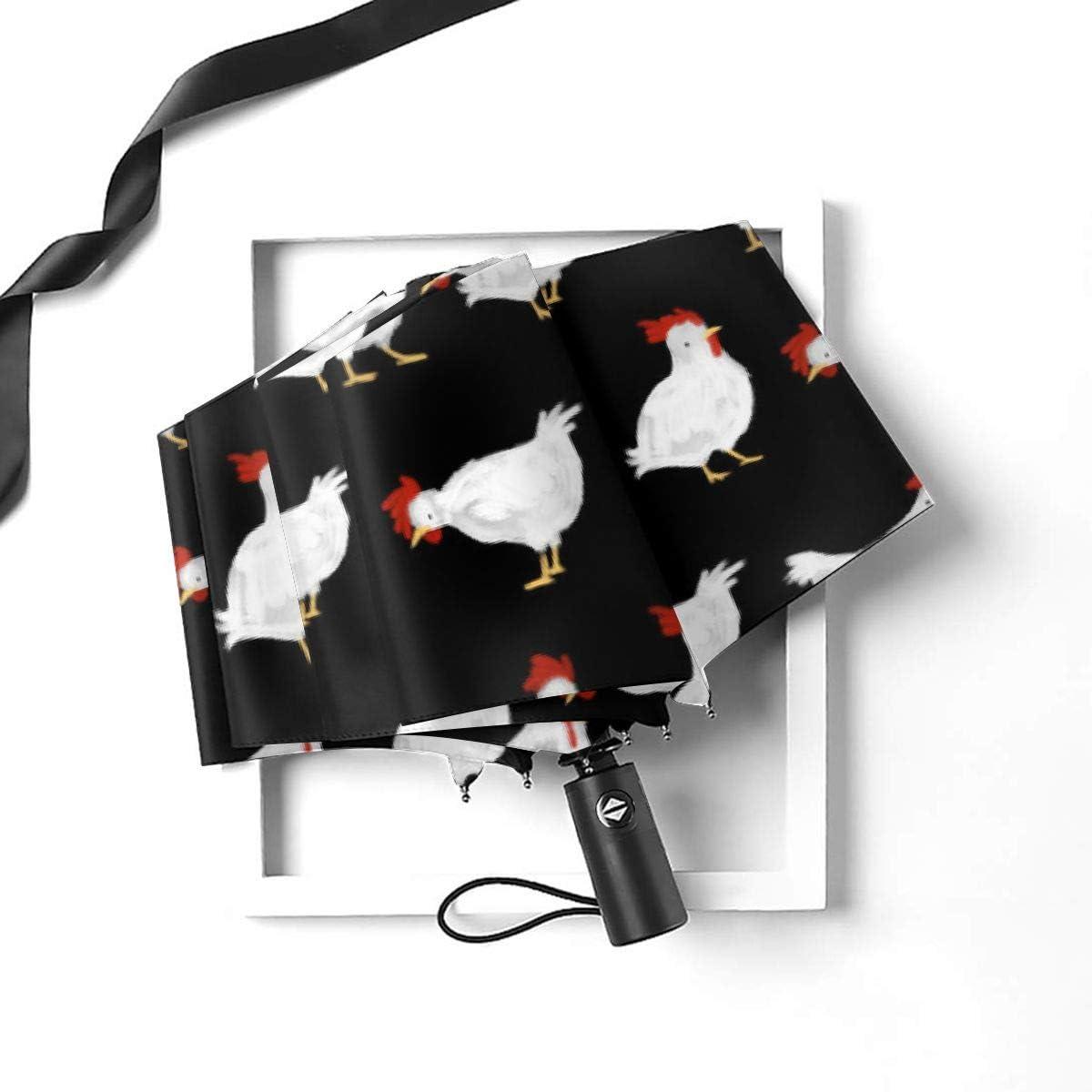White Chicken Automatic Tri-Fold Umbrella Parasol Sun Umbrella Sunshade
