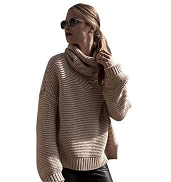 7f48295c7 Womens Knitted Jumpers For Women Oversized Knit Jumper Pullover Sweater For  Ladies Casual Long Sleeve Loose Knitwear Sweaters Warm Roll Neck Chunky  Jumpers ...