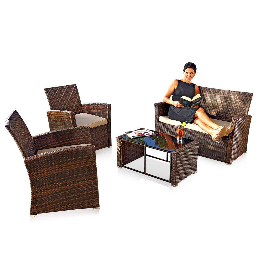 Melko® Sitzgruppe PolyRattan 4 TLG. Braun, Gartenmöbel Lounge Sitzgarnitur Essgruppe, wetterfestes Polyrattan, inklusive 6 cm Sitzauflagen