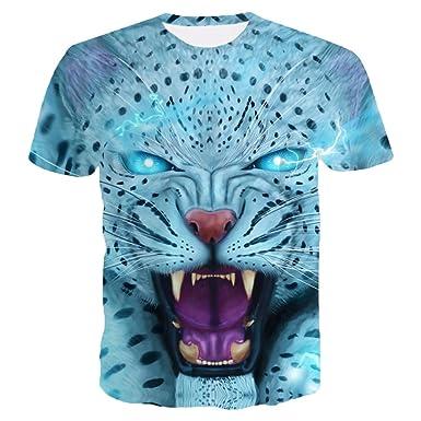 7a599141fc9a ZKOOO Hommes Col Rond T-Shirt 3D Tigre Animal Imprimé Manches Courtes Lâche  Bleu Top
