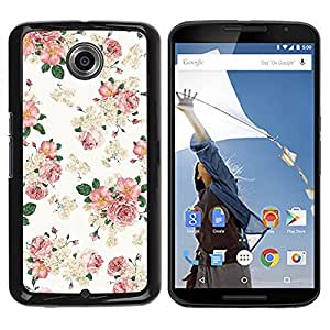 Design for Girls Plastic Cover Case FOR NEXUS 6 / X / Moto X Pro Floral Pink Wallpaper White Retro Style Vintage OBBA