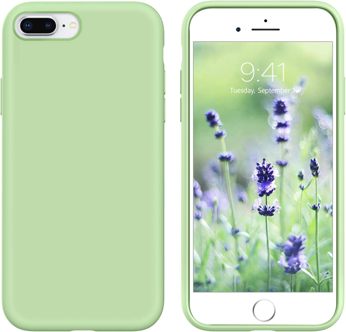 GUAGUA iPhone 8 Plus Case iPhone 7 Plus Case Liquid Silicone Soft Gel Rubber Slim Lightweight Microfiber Lining Cushion Texture Cover Shockproof Protective Cases for iPhone 8 Plus /7 Plus Matcha Green