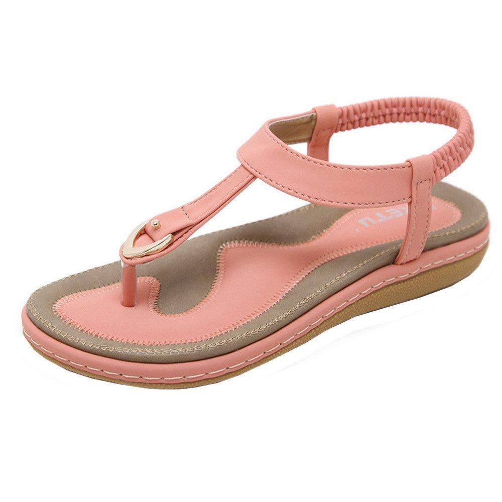 Shusuen Women's Flat Sandals Summer Beach Flip Flops Thong T-Strap Rhinestone Beads Slipper Bohemia Elastic Slip On Pink by Shusuen_shoes