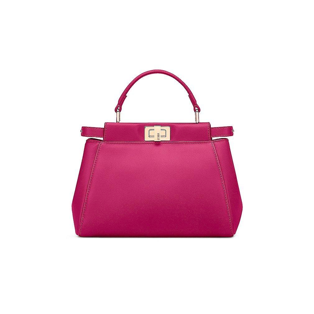 9c2ac67b96 Fendi Mini Peekaboo Magenta Leather Handbag Made in Italy: Handbags: Amazon .com
