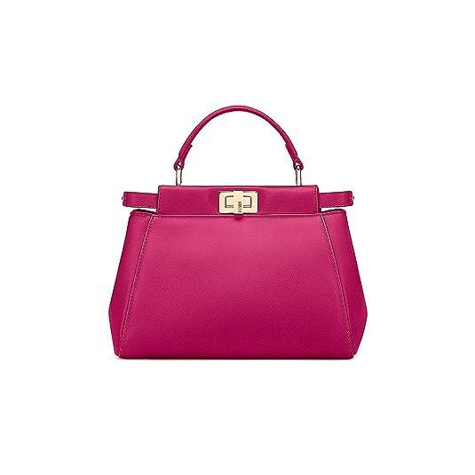 c78decb3b0d6 Fendi Mini Peekaboo Magenta Leather Handbag Made in Italy  Handbags   Amazon.com