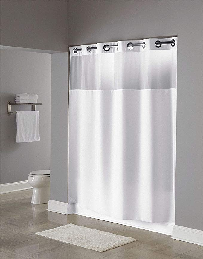 Hookless Hbh49mys01sl74 Illusion Shower Curtain With Snap In Liner Sheer Top White 71 X 74 Home Kitchen