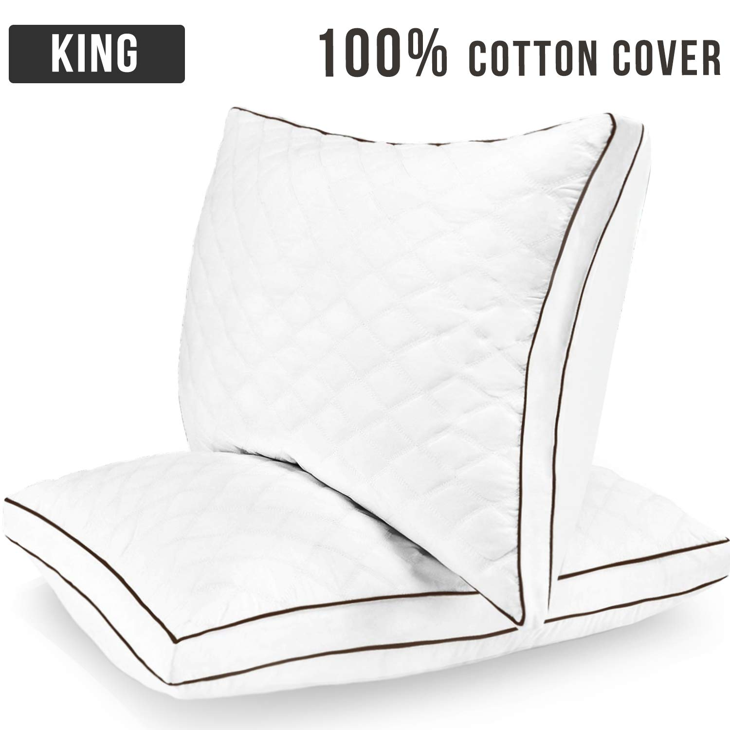 Casaottima King Size Bed Pillows Sleeping 20''x36'' Set of 2 【100% Cotton Cover Shell】