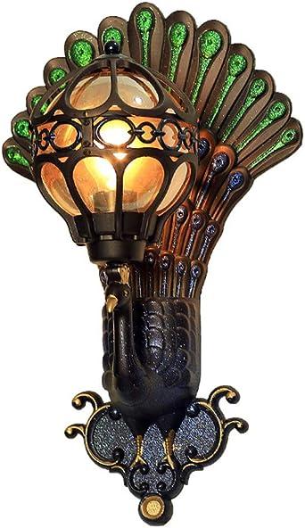 LPZF Apliques Exterior Impermeable Creativo Apliques de pared E27, Aluminio Portalámparas Pavo real Tonos Lámpara de pared Jardín Pasillo Iluminación-Vistoso 32.5x54cm: Amazon.es: Iluminación