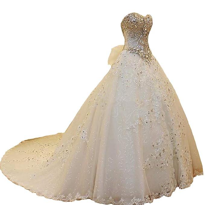 Amazon.com: Fair Lady lujo abalorios Sweetheart boda vestido ...