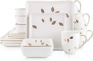 Stone Lain Gold Leaves Square Porcelain Dinnerware Set, Service For 4, White