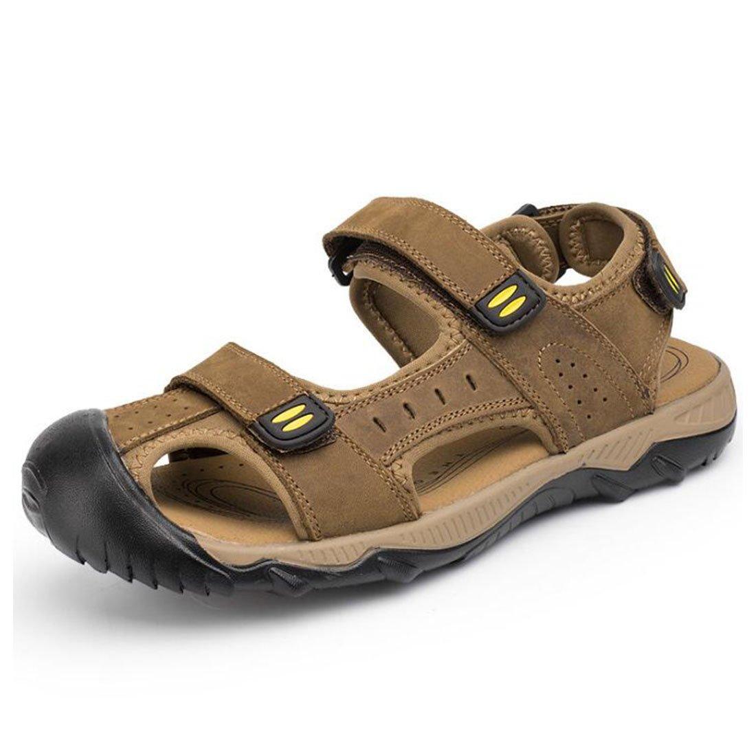 ZHONGST Herren Sommer Leder Casual Sandalen IM Freien Strand Schuhe Große Größe Sandalen Lightbrown