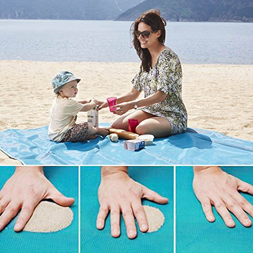 COSOON Beach Mat Sand Proof Rug Picnic Blanket - Sand Dirt & Dust disapper! - Fast Dry, Easy to Clean Perfect for the Beach, Picnic, Camping, Outdoor Events (Blue, 79' x 79' in) (Mat Proof)